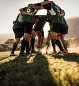Team playing rugby